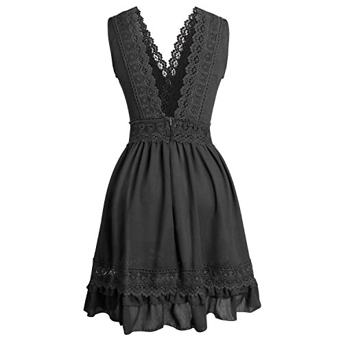 Out Dress Black Summer Hollow amp; up Women BELONGSCI Lace Cute V Sleeveless Plunging Backless Solid Sweet Dress Neck Color PxF5TvwqU5