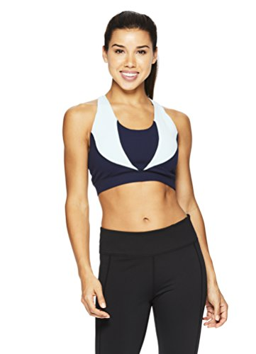 Gaiam Women's Heather Mix Halter Top Sports Bra - Racerback Yoga Sports Bralette w/Open Back - Medieval Blue, (Blue Camouflage Bras)