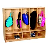 Childcraft 1464160 Toddler Bench Coat Locker, 5-Unit, Wood, 50-3/4'' x 13-3/4'' x 36'', Natural Wood Tone