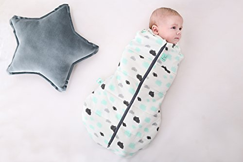 2.5 TOG Cocoon Swaddle Bag (2-6 Months, up to 17 lbs) Clouds. Winter Organic Cotton 2 in 1 Swaddle Transitions into arms Free Wearable Blanket Sleeping Bag. 2 Way Zipper for Easy Diaper Changes by Ergo Pouch