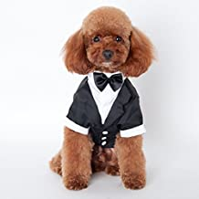 Befamous Pet Dog Puppy Shirt Suit Wedding Tuxedo Bowtie Cloth Outfit M