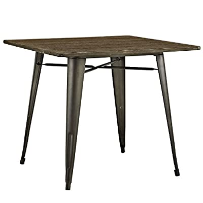 """Modway Alacrity 36"""" Rustic Modern Farmhouse Wood Square Dining Table with Steel Legs in Brown - INDUSTRIAL MODERN TABLE - Update your dining decor with a retro modern table reminiscent of style seen in French cafes. Alacrity is a stripped down dining table with a sleek silhouette and chic look METAL DINING TABLE - Complete your breakfast nook, kitchen or dining room with a robust designer table with a cross-brace that delivers stability, adds intrigue, and elevates the dining experience BISTRO TABLE - Bring bistro-inspired style home with Alacrity. Serving its purpose as a dynamic dining table, this versatile piece also functions as an industrial warehouse inspired modern office desk - kitchen-dining-room-furniture, kitchen-dining-room, kitchen-dining-room-tables - 41BwDxTIJ7L. SS400  -"""