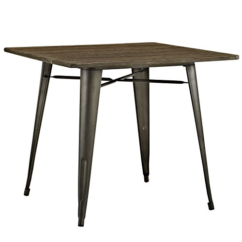 Modway Alacrity Industrial Modern Stainless Steel Metal Square Dining Table With Wood Top, 36