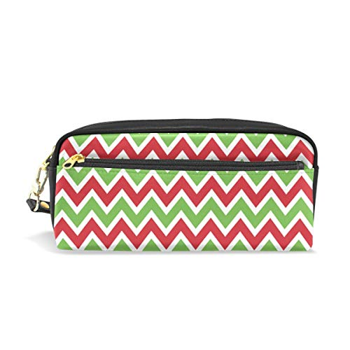 Students Pencil Case Pouch Green Red White Chevron Pattern PU Leatehr Organizer Pen Holder Box Women Purse Wallet Waterproof Large Capacity Hand Mini Cosmetic Makeup Bag -