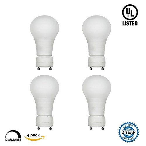 Fluorescent Gu24 Base Lamp - GU24 Base LED Bulbs,A19 Dimmable LED Light Bulbs,7W (40W Incandescent Bulbs Equivalent),520lm,5000K Daylight White,Home/Indoor Lighting,UL Listed and Energy Star,Pack of 4