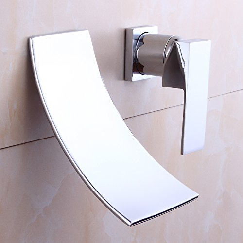 Waterfall Bathroom Faucet Lavatory Sink Faucet Basin Brass Single Handle Faucet Wall Mount Extra Wide Fallingwater Spout, Chrome Finished, by HHOOMMEE, Model ()