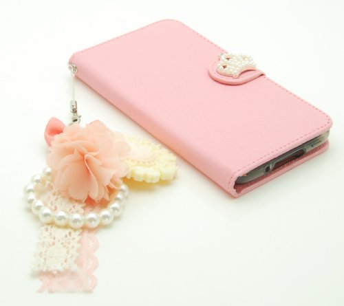 ZZYBIA® S5 TCV Leatherette Stand Case Card Holder Wallet with a Romantic Victorian Dust Plug Charm for Samsung Galaxy S5 I9600 (Pink)