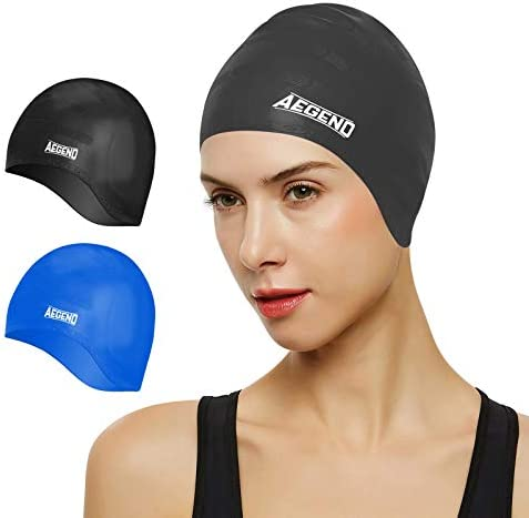 Aegend Unisex Swim Caps Cover Ears (2 Pack), Durable & Flexible Silicone Swimming Caps for Long Hair & Short Hair,Easy to Put On and Off, 6 Colors