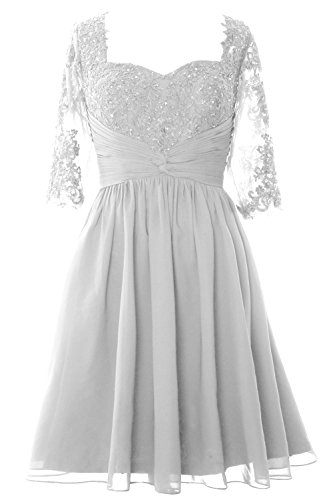 Formal Women Weiß of Mother Dress Half Midi Bride MACloth Cocktail Gown Lace Sleeve wtSaUa