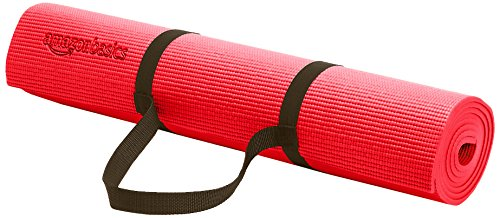 AmazonBasics 1/4-Inch Yoga and Exercise Mat with Carrying Strap, Red