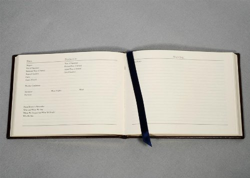 Genuine Leather Ship's Log / Journal, Blue