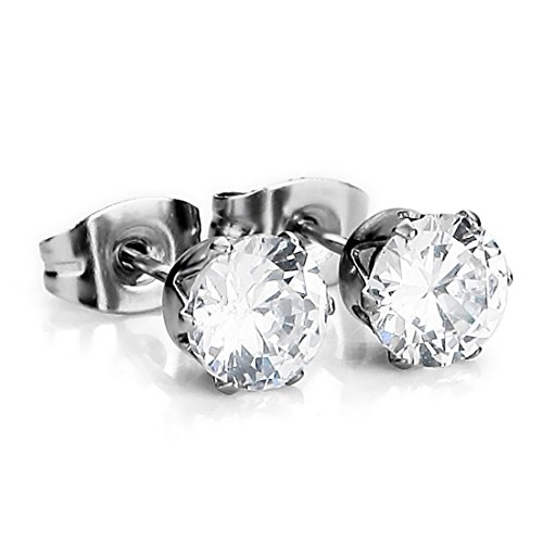 Chryssa Youree Stainless Steel Mens Womens Stud Earrings Clear Round Cubic Zirconia Inlaid, 3mm-8mm Available (ED-69) (Stone Diameter 8mm)