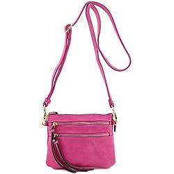 Multi Pocket Small Crossbody Bag (Fuchsia)