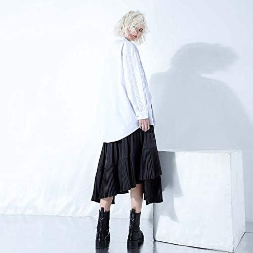SETGVFG Camicie Patchwork A Pieghe Pesanti Camicetta Donna Collo Bavero Maglie A Manica Lunga Donna Donna Primavera Moda Ol White