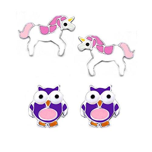 SL Silver juego de pendientes para niñas, graciosos búhos y unicornios de plata 925plata en caja de regalo