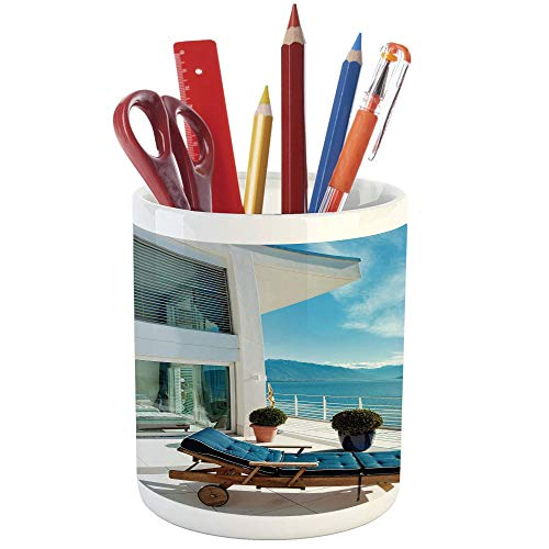Cheap  Pencil Pen Holder,Travel Decor,Printed Ceramic Pencil Pen Holder for Desk Office Accessory,Lake..
