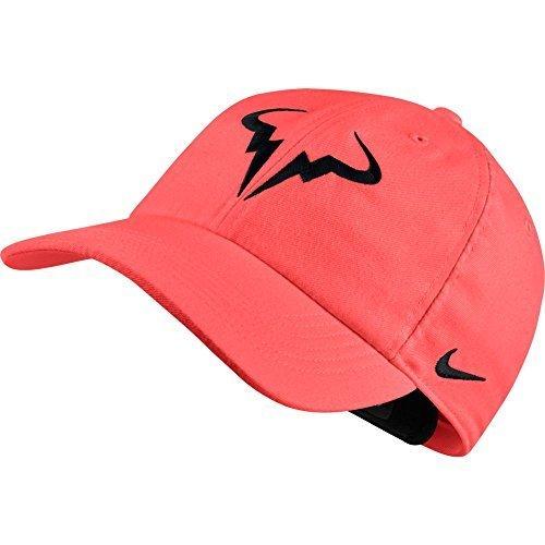 NIKE Unisex Aerobill Rafa Nadal Hat (Hot PUNCH/Black)
