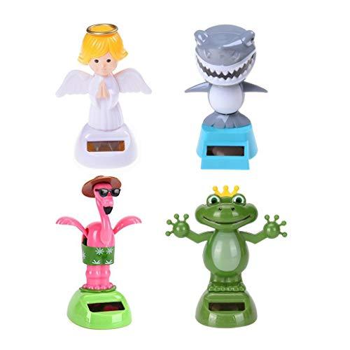 COSCOSX4PC 태양 강화된 댄스 동물성 인형 애니메이션 스윙 장식 댄서 창 태양 포 수동식 휴대용 SUNCATCHERS 로 개구리 천사 상어 플라밍고 가정 자동차 장식의 아이들이 장난감 선물