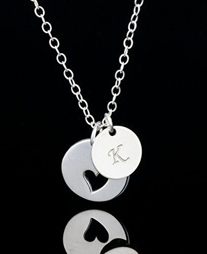 9d37288ab Amazon.com: Personalized Initial Heart Necklace, Sterling Silver Family  Tree with Kids Initial Necklace: Handmade