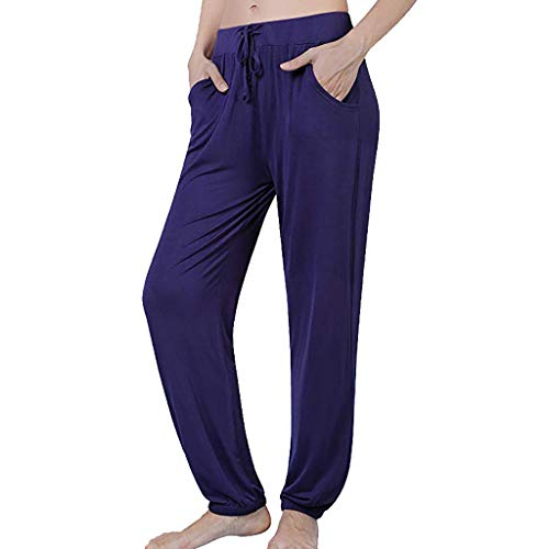 nikunLONG Flare Casual Plus Size Pants Cotton Linen Pajama Pants for Womens Stretch Knit Lounge Pants Bottoms Navy