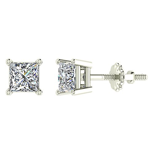 Diamond Earrings Princess Cut 14K White Gold Studs 5/8 carat total weight Screw Back Posts (Best Setting For Princess Cut Diamond)