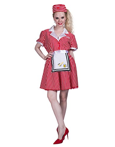 50s Costumes Waitress Costumes (FantastCostumes Women's 50s Red Halloween Waitress Costume(Red, Small))