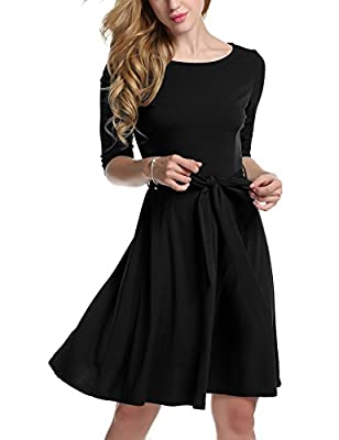 Meaneor Womans 3/4 Sleeve Casual Swing And Cocktail dress w/ Belt