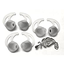 BSI 3 Pairs Medium Left and Right-Side StayHear Replacement Ear Gels Ear Tips for Bose SIE2/SIE2i/IE2 Sport Audio Headphones and MIE2/MIE2i Mobile Headsets + Nice Crystals Feather Brooch