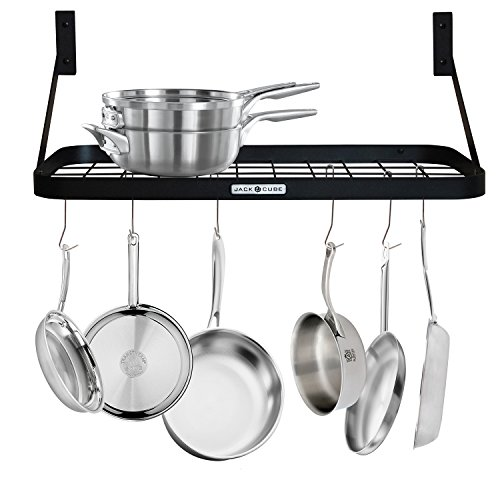 JackCubeDesign Wall Mount Grid Pot Pan Rack Hanger Organizer Kitchen Storage Shelf Tray Holder with Utility 8 Hooks(24.4 x 11.8 x 1.2 inches) – - Small Pot Rack Iron