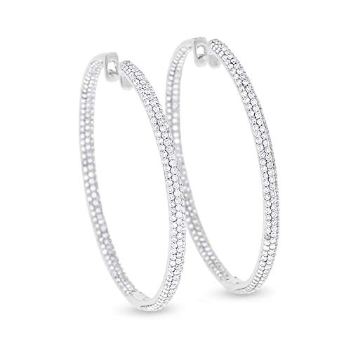 - 2.68 Ct. Natural Diamond Pave Inside Out Hoop Earrings 1.5