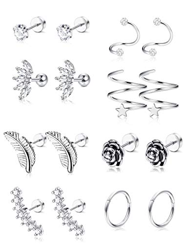 G Stainless Steel Flower Feather Cartilage Cubic Zirconia Inlaid Helix Stud Earrings Tragus Piercing Jewelry for Men Women ()