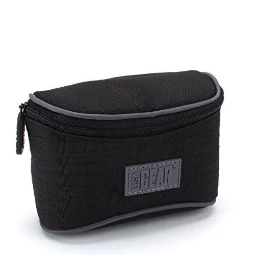 USA GEAR Compact Camera Case Bag with Belt Loop , Impact-Resistant Protective Nylon & Storage Pocket - Works With Panasonic Lumix  DMC-GF8 , DMC-ZS60 , DMC-ZS100 & More Digital Cameras!