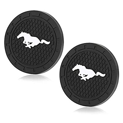 JDclubs 2.75 Inch Diameter Oval Tough Car Logo Vehicle Travel Auto Cup Holder Insert Coaster Can 2 Pcs Pack (fit Mustang): Automotive