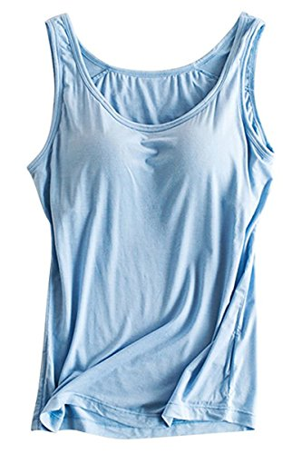 (Womens Modal Built In Bra Active Padded Wide Straps Slips Camisole Tank Tops Light Blue US 6-8/Tag Size XL)