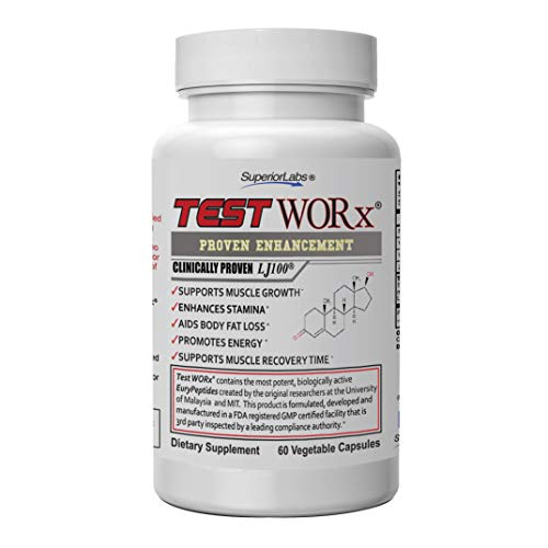 Superior Labs TEST WORx Natural Testosterone Booster With Clinically Proven LJ100 and 8 Other Powerful Ingredients Delivers A Noticeable Increase In Energy, Stamina, Recovery and Better Sleep and Mood ()