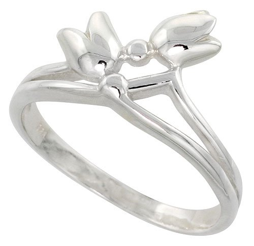 Sterling Silver Small Tulips Ring Flawless Quality Finish 1/2 inch wide, size 7]()