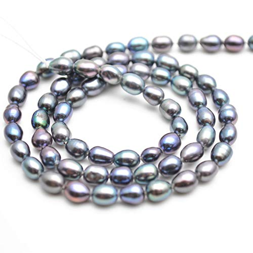 Buty-Bzi 4x5mm Peacock Gray Color Natural FWP Pearl Rice Loose ()