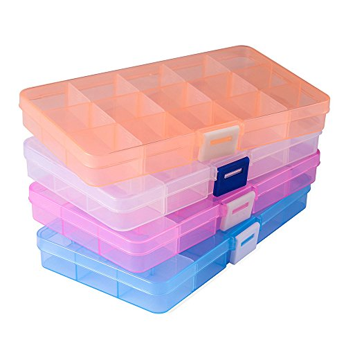 Opret Jewelry Organizer(4 pack), Plastic Jewelry Box(15 grids) with Movable Dividers Earring Storage - Grid Dividers Storage Long Container