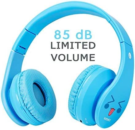 Kids Bluetooth Headphones, Wireless Wired Foldable Adjustable Lightweight Headset with Mic, for Phones Computer for Children Boy Girl Teen Family Pale Blue