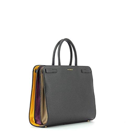 Handbag in leather NOIR/TAUPE
