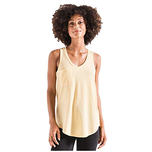 Z SUPPLY Clothing Women's The Pocket Racer V Neck Tank Top, Yellow Cream (YLWCRM/YLC), Medium