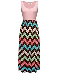 Meaneor Women's Summer High Waist Scoop Neck Floral Boho Casual Beach Maxi Dress