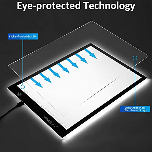 Painting Veidoo A4 Ultra Thin Portable LED Dimmable Tracer Light Pad//Box//Board for Artists X-ray Viewing Tracing Light Box Drawing Animation