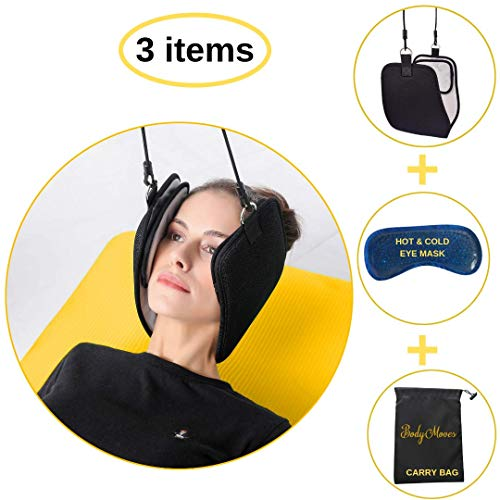 BodyMoves 2019 Head Hammock Plus hot & Cold Eye mask - for Pinched Nerve herniated bulging disc Spine Alignment Arthritis spasm Stiff Neck Chronic spondylosis Home Remedy-Adjustable Corrector (Best Treatment For Bulging Disc In Neck)