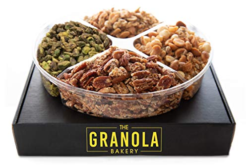 GRANOLA BAKERY Holiday Gourmet Nut Blend Gift Box | Keto, Gluten Free, Grain Free, Vegan, Diabetic Diet Friendly Variety Nut Mix Assortment | Fresh Christmas Prime Delivery Gifts Basket (1.6lb Tray)
