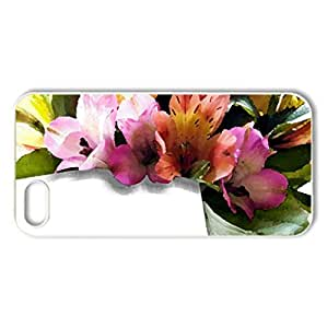 With love - Case Cover for iPhone 5 and 5S (Flowers Series, Watercolor style, White)