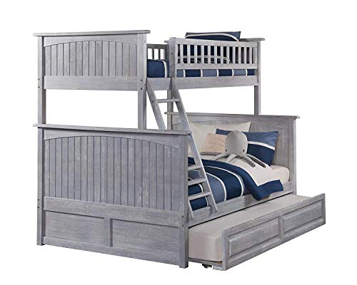 Atlantic Furniture Nantucket Bunk Twin Raised Panel Trundle Bed, Full, Driftwood