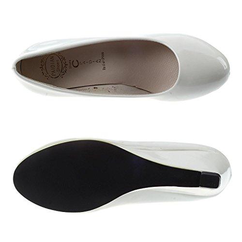 De US EUR35 Crema De Para R 4 Zapatos De Trabajo SODIAL Blanco De Mujeres Color Calzados Dedo 22 5cm longitud Rondondo Nuevos Cunas Del Pie Charol 5 De 7gHqqwxCR