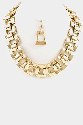 Trendy Fashion Jewelry Chunky Rail Chain Necklace Set By Fashion Destination   (Gold) (Custom Costume Hip Hop Jewelry)