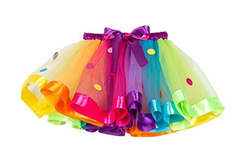 New Little Girls Colorful Rainbow Layered Ribbon Tiered Ballet Tutu Skirt